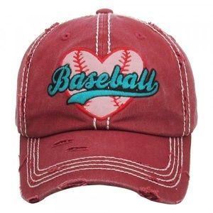 Baseball Heart Vintage Cap